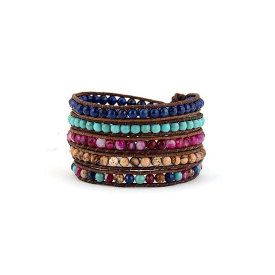 Multi Stone Beaded Wrap Bracelet