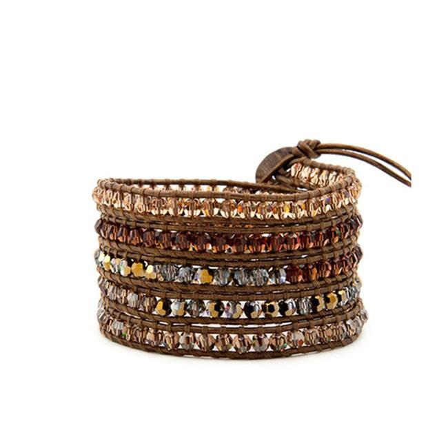 Beaded Wrap Bracelet Marron