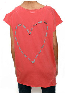 Heart Bow Top by The Hip Tee Coral