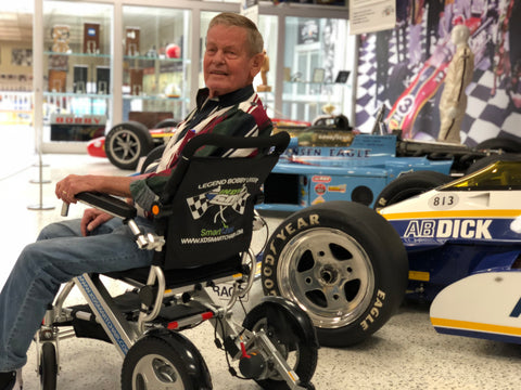 "3 Time Indianapolis 500 Winner Legend ""Uncle"" Bobby Unser using KD Smart Chair"