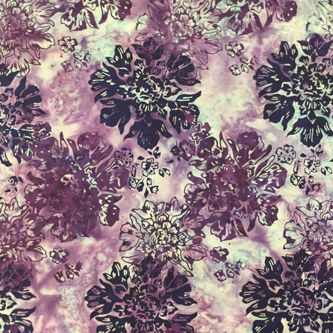 Hoffman Bali Batik 0001 7483 Hydrangea Plum Purple Flowers By the Yard