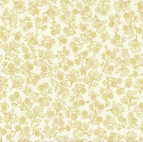 The Textile Pantry Metallic Melba 0003 11 Cream/Gold Wattle Wax & Flannel Flowers By The Yard