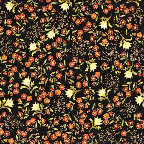The Textile Pantry Metallic Melba 0003 7 Ebony Wattle Wax & Flannel Flowers By The Yard