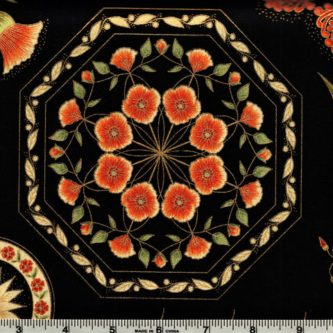 The Textile Pantry Metallic Melba 0004 7 Melba Motifs Fire/Ebony By The Yard