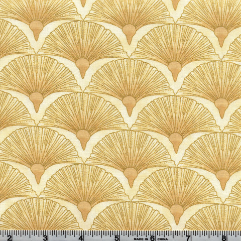 The Textile Pantry Metallic Melba 0005 11 Melba Metallic Fans Golden Cream By The Yard