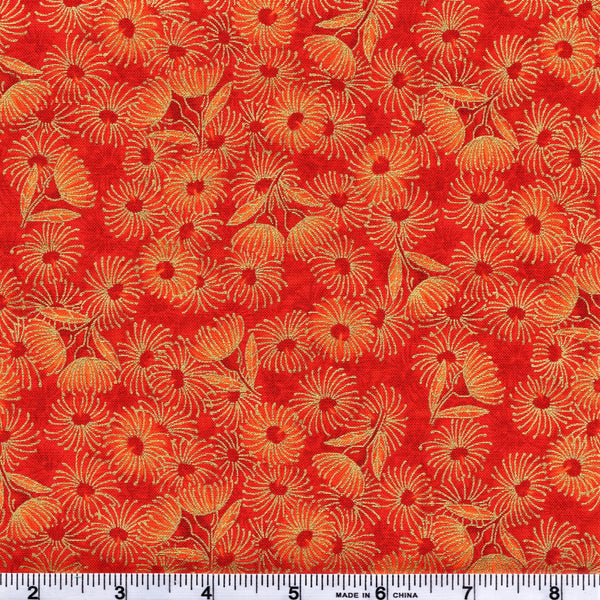 The Textile Pantry Metallic Under the Australian Sun 0012 3 Orange Flowering Gum by the yard