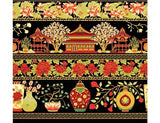 The Textile Pantry Metallic Summer Palace 0018 13 Palace Border Black/Red By The Yard