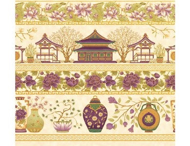 The Textile Pantry Metallic Summer Palace 0018 19 Palace Border Cream/Plum By The Yard