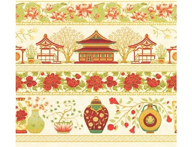 The Textile Pantry Metallic Summer Palace 0018 1 Palace Border Ivory/Red By The Yard