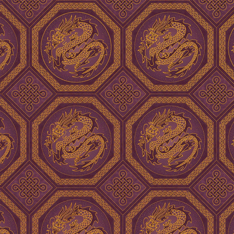 The Textile Pantry Metallic Summer Palace 0020 19 Plum Dragons By The Yard