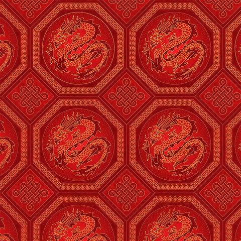 The Textile Pantry Metallic Summer Palace 0020 1 Red Dragons By The Yard