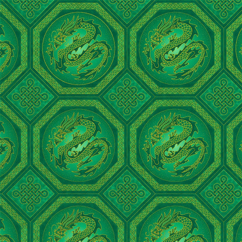 The Textile Pantry Metallic Summer Palace 0020 22 Jade Dragons By The Yard
