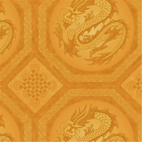 The Textile Pantry Metallic Summer Palace 0020 4 Gold Dragons By The Yard