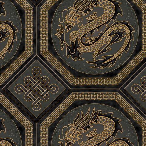 The Textile Pantry Metallic Summer Palace 0020 7 Black Dragons By The Yard