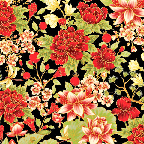 The Textile Pantry Metallic Summer Palace 0021 13 Black/Red Bonsai Floral By The Yard
