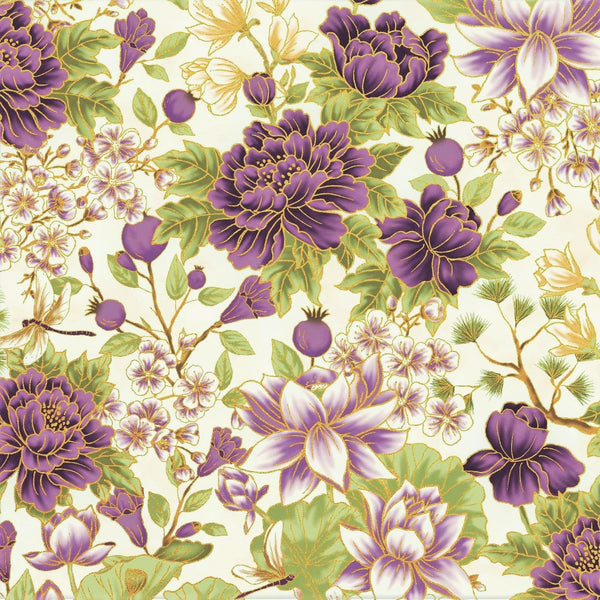 The Textile Pantry Metallic Summer Palace 0021 19 Cream/Plum Bonsai Floral By The Yard