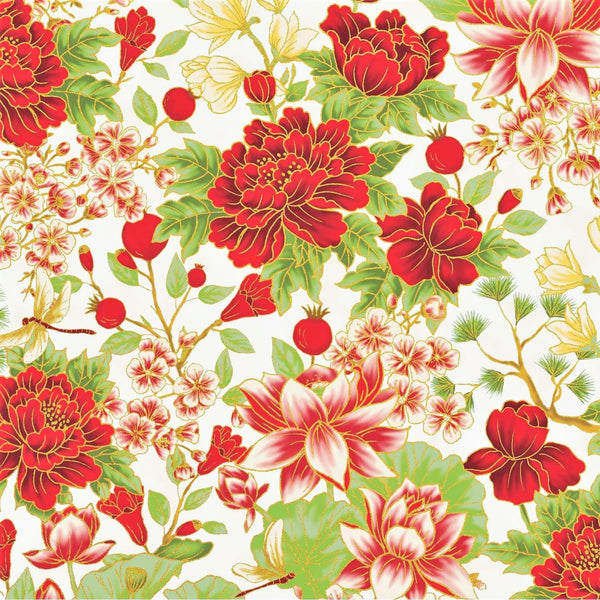 The Textile Pantry Metallic Summer Palace 0021 1 Ivory/Red Bonsai Floral By The Yard