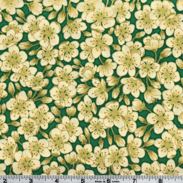 The Textile Pantry Metallic Summer Palace 0023 10 Cream Blossoms Green By The Yard