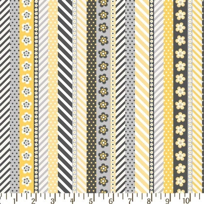 Adorn It - Sunshine & Shadows 00452 Daisy Ticker Tape - Grey & Gold Stripe By The Yard