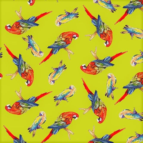 Benartex Rainforest 06861 40 Lime/Multi Tossed Parrots By The Yard
