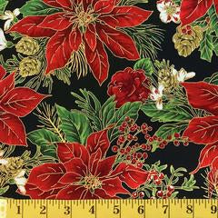 Jordan Fabrics Metallic Christmas Blossom 10001 1 Black/Gold Poinsettia Bouquet By The Yard