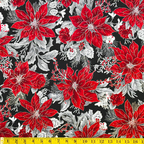 Jordan Fabrics Metallic Christmas Blossom 10001 2 Black/Silver Poinsettia Bouquet By The Yard