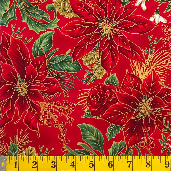 Jordan Fabrics Metallic Christmas Blossom 10001 3 Red/Gold Poinsettia Bouquet By The Yard