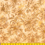 Jordan Fabrics Metallic Christmas Blossom 10001 4 Golden Poinsettia Bouquet By The Yard