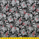 Jordan Fabrics Metallic Christmas Blossom 10002 2 Black/Silver Pine Berry By The Yard