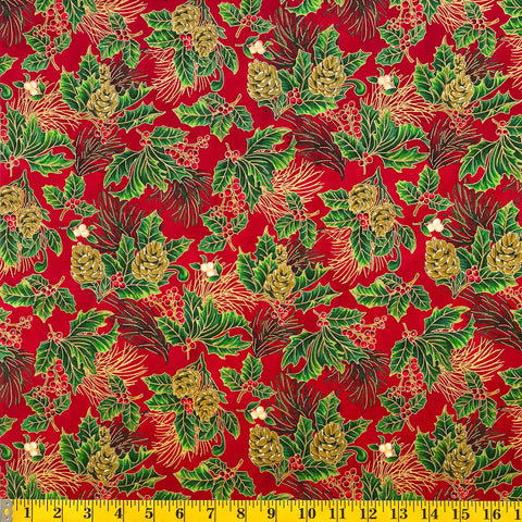 Jordan Fabrics Metallic Christmas Blossom 10002 3 Red/Gold Pine Berry By The Yard