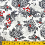 Jordan Fabrics Metallic Christmas Blossom 10002 5 Ivory/Silver Pine Berry By The Yard