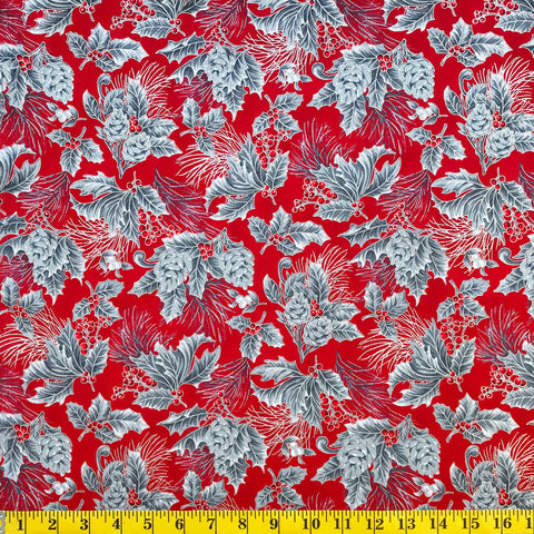 Jordan Fabrics Metallic Christmas Blossom 10002 7 Crimson/Silver Pine Berry By The Yard