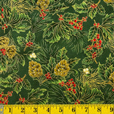 Jordan Fabrics Metallic Christmas Blossom 10002 8 Green/Gold Pine Berry By The Yard