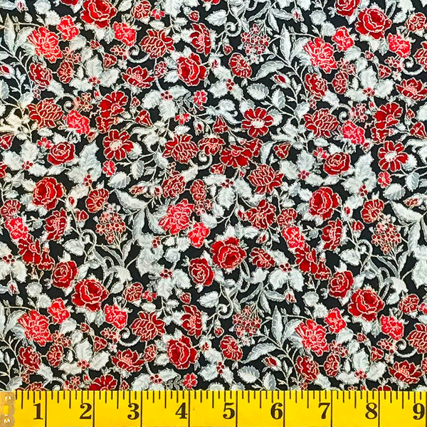 Jordan Fabrics Metallic Christmas Blossom 10003 2 Black/Silver Christmas Rose By The Yard