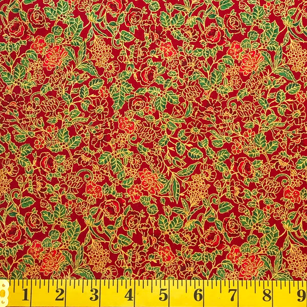 Jordan Fabrics Metallic Christmas Blossom 10003 3 Red/Gold Christmas Rose By The Yard