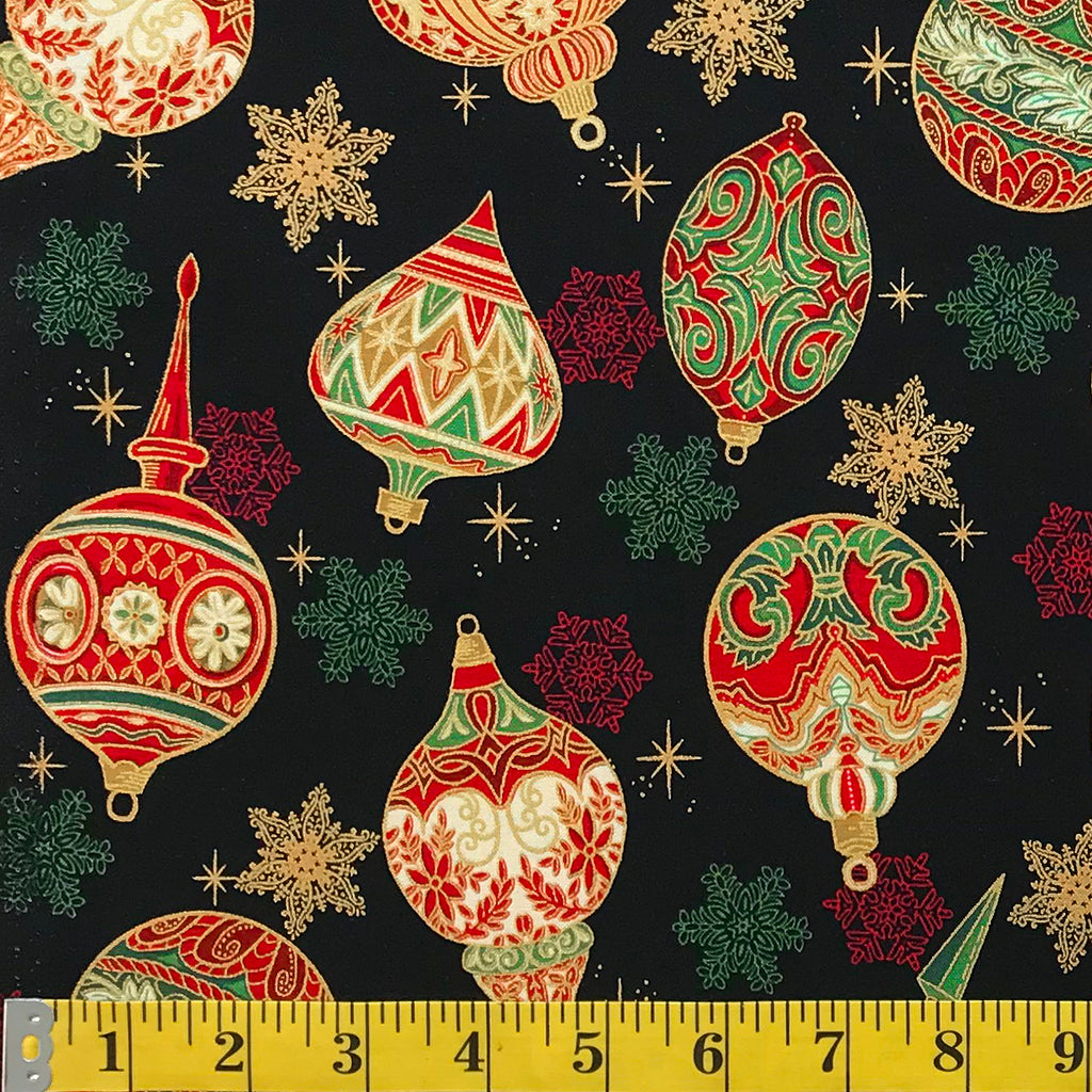 Jordan Fabrics Metallic Christmas Blossom 10004 1 Black Gold Heirloom Ornaments By The Yard