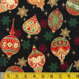 Jordan Fabrics Metallic Christmas Blossom 10004 1 Black/Gold Heirloom Ornaments By The Yard