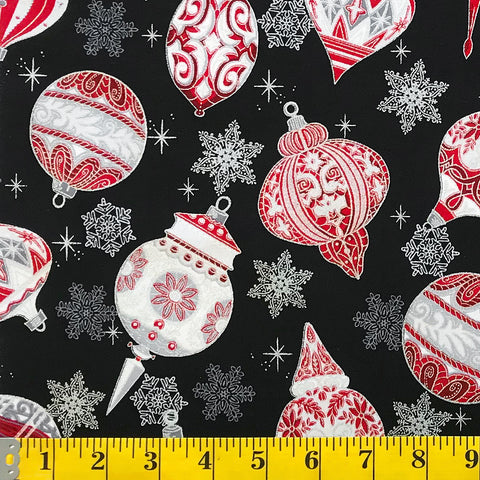 Jordan Fabrics Metallic Christmas Blossom 10004 2 Black/Silver Heirloom Ornaments By The Yard