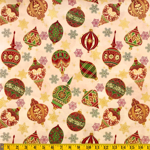 Jordan Fabrics Metallic Christmas Blossom 10004 4 Cream/Gold Heirloom Ornaments By The Yard