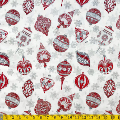 Jordan Fabrics Metallic Christmas Blossom 10004 5 Ivory/Silver Heirloom Ornaments By The Yard