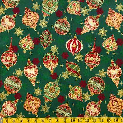 Jordan Fabrics Metallic Christmas Blossom 10004 8 Green/Gold Heirloom Ornaments By The Yard