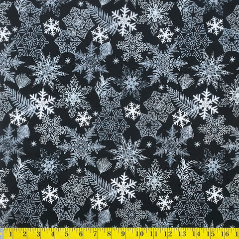 Jordan Fabrics Metallic Christmas Blossom 10005 2 Black/Silver Snowflake & Leaf By The Yard