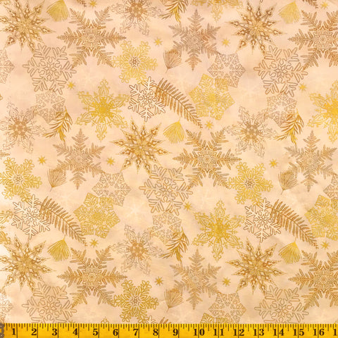 Jordan Fabrics Metallic Christmas Blossom 10005 4 Golden Snowflake & Leaf By The Yard