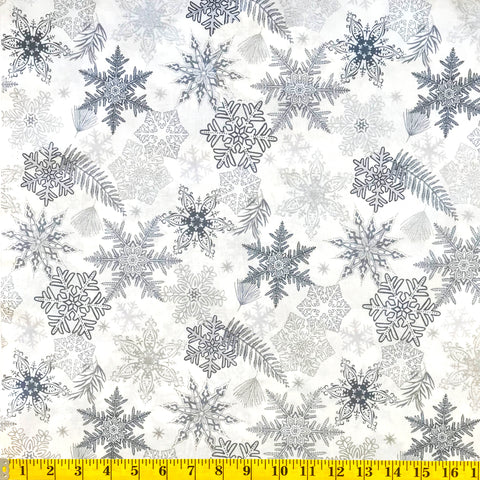 Jordan Fabrics Metallic Christmas Blossom 10005 5 Tinsel Snowflake & Leaf By The Yard