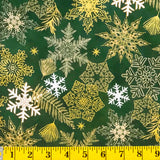 Jordan Fabrics Metallic Christmas Blossom 10005 8 Green/Gold Snowflake & Leaf By The Yard