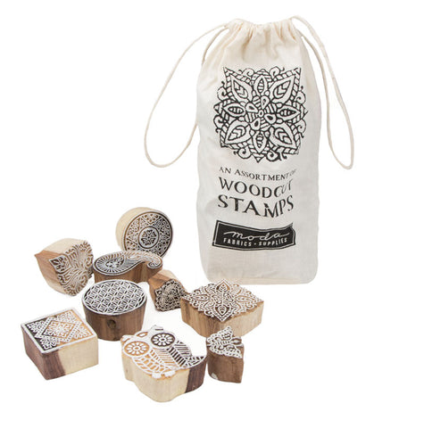 Moda 12 Piece Assortment of Woodcut Stamps 1001 20
