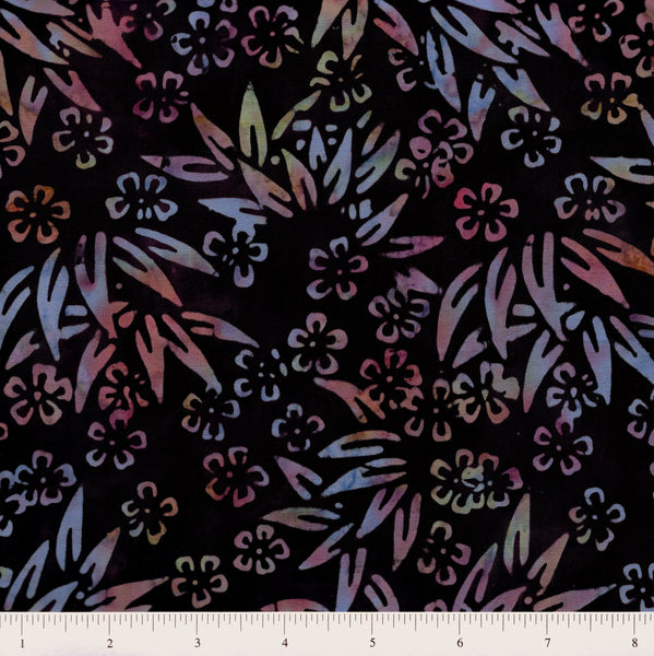 Anthology Batik 10022 Multi Small Floral & Leaves On Dark Purple By The Yard