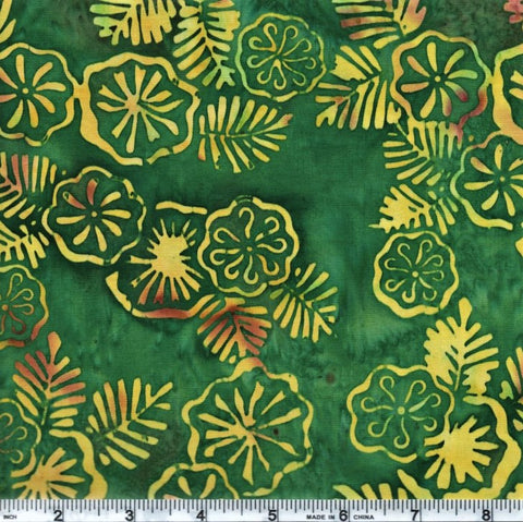 Anthology Batik 10042 Yellow Circle Flowers On Green By The Yard