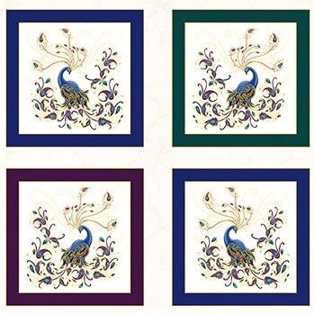 "Benartex Peacock Flourish Metallic 10225 09 White/Multi 24"" Box PANEL By The PANEL (Not By The Yard)"