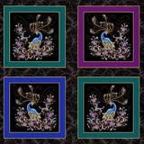 "Benartex Peacock Flourish Metallic 10225 12 Black/Multi 24"" Box PANEL By The PANEL (Not By The Yard)"